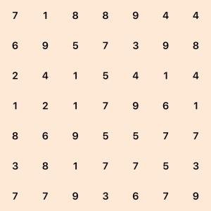 7 by 7 board, row 1: 7 1 8 8 9 4 4, row 2: 6 9 5 7 3 9 8, row 3: 2 4 1 5 4 1 4, row 4: 1 2 1 7 9 6 1, row 5: 8 6 9 5 5 7 7, row 6: 3 8 1 7 7 5 3, row 7: 7 7 9 3 6 7 9