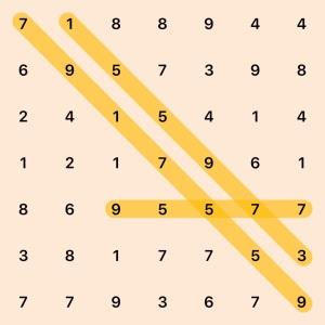 7 by 7 board, selected 7 9 1 7 5 5 9, selected 1 5 5 9 7 3, selected 9 5 5 7 7, row 1: 7 1 8 8 9 4 4, row 2: 6 9 5 7 3 9 8, row 3: 2 4 1 5 4 1 4, row 4: 1 2 1 7 9 6 1, row 5: 8 6 9 5 5 7 7, row 6: 3 8 1 7 7 5 3, row 7: 7 7 9 3 6 7 9